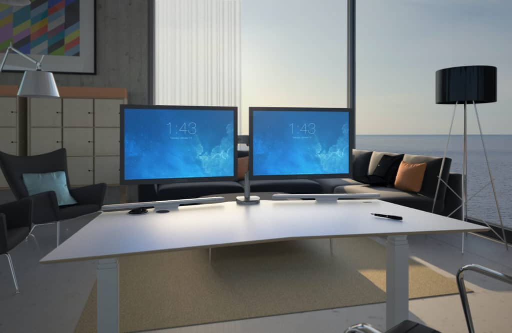 Electric height adjustable standing desk V-Desk designer with two monitors mounted on a designated monitor mount space
